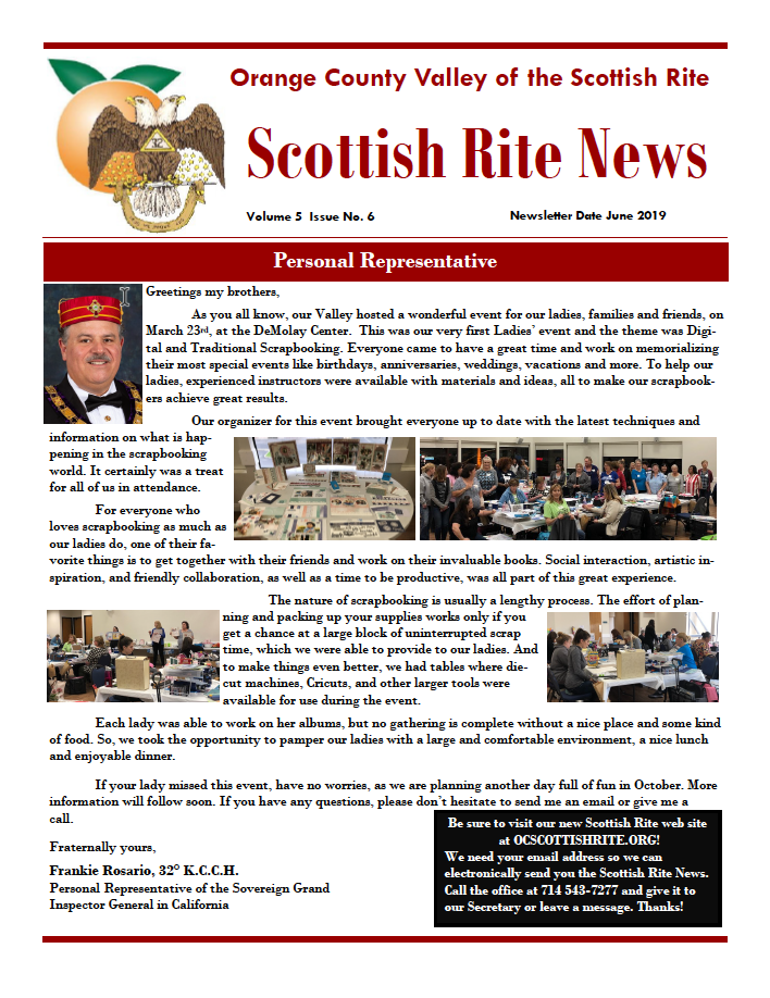 Thumbnail cover image of the June 2019 OC Scottish Rite News