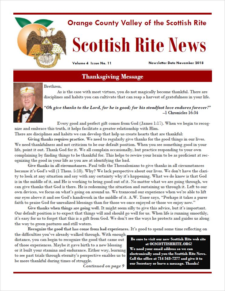 Cover image of the OC Scottish Rite News