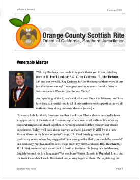 Thumbnail image of the cover of the February 2020 edition of the Orange County Scottish Rite Newsletter